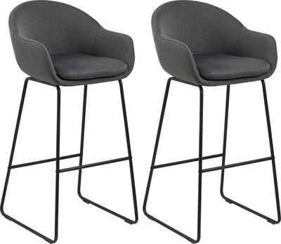 andas Barhocker »Alvara« (Set, 2 St), mit schönem schwarzem Metallgestell und bequemen Webstoff Bezug