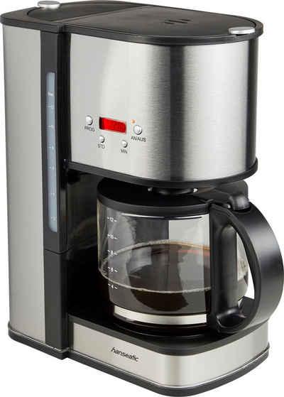 Hanseatic Filterkaffeemaschine für 12 Tassen, Papierfilter 1x4, mit Glaskanne und Timerfunktion, Edelstahl