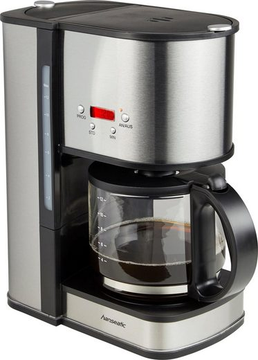 Hanseatic Filterkaffeemaschine für 12 Tassen, Papierfilter 1x4, mit Glaskanne