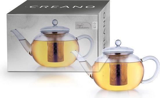 Creano Teekanne, 1,6 l, Borosilikatglas mit Edelstahlfilter