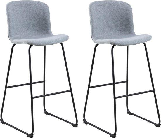 andas Barhocker »Sigwald« (Set, 2 St), mit schwarzen Kufen Metallbeinen, Sitzhöhe 75 cm