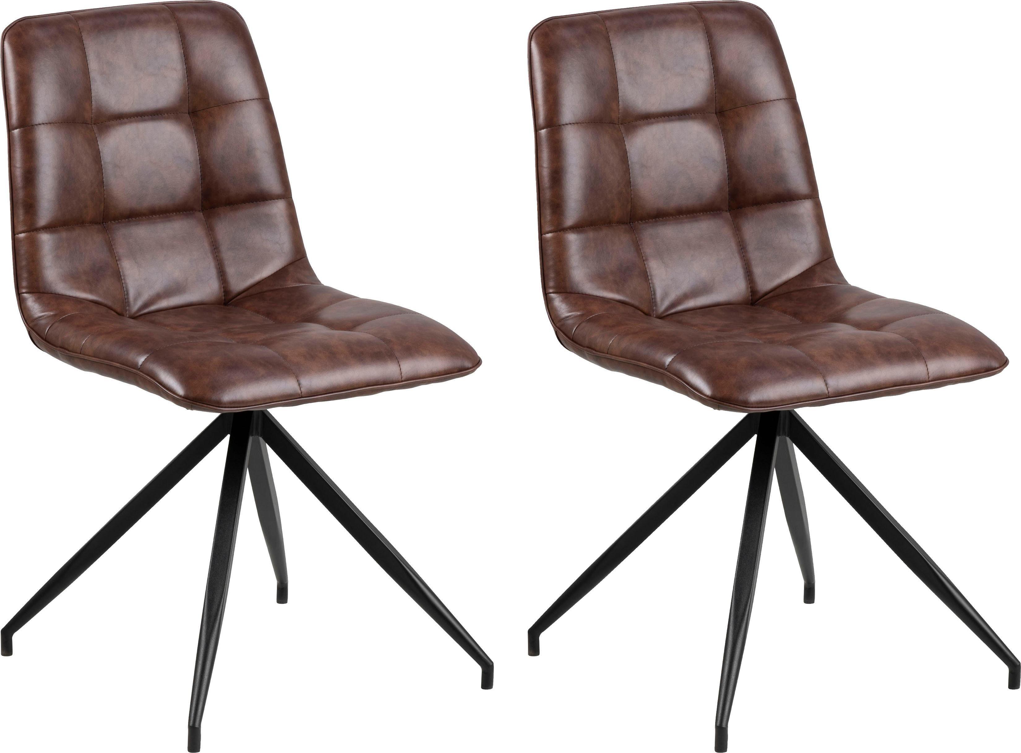 andas 2er Esszimmerstuhl Set »Caspar« mit schönen schwarzen Stahlbeinen und bequemen Kunstleder Bezug