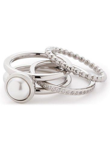 LEONARDO Ring-Set »Set/3 Ring 17, 18, 19 Perla, 016868« (Set, 3-tlg), mit Kristallsteinen und imit. Perle