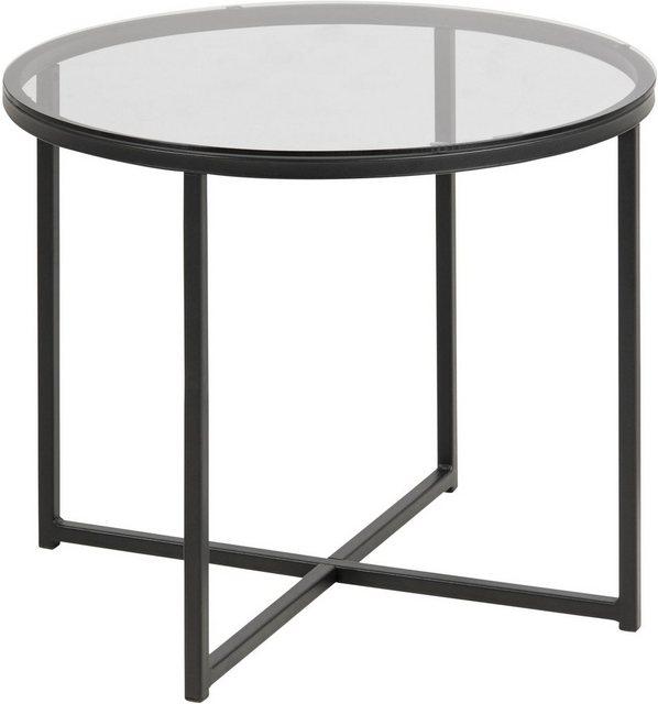 Wohnzimmertische - andas Couchtisch »Conrad«, mit einer Tischplatte aus schönem Rauchglas, pulverbeschichtetes Metallgestell, Breite 55 cm  - Onlineshop OTTO