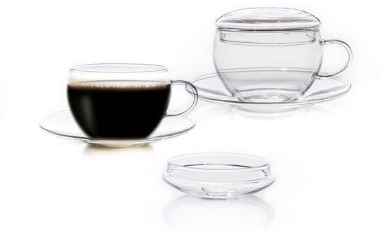 Creano Tasse (2-tlg), Borosilikatglas, inkl. integriertem Glasdeckel