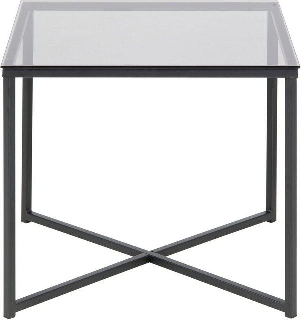 Wohnzimmertische - andas Couchtisch »Conrad«, mit schönem, schwarzen Metallgestell und eckiger Glastischplatte, Breite 50 cm  - Onlineshop OTTO