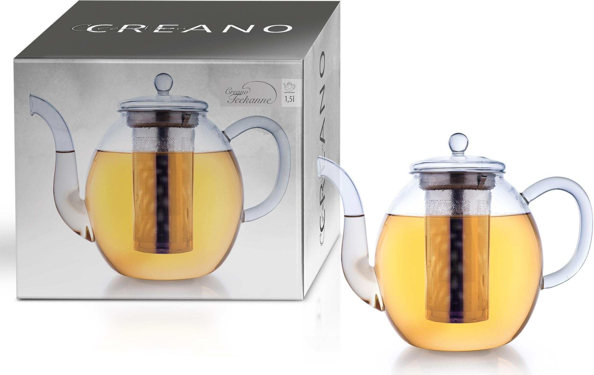 Creano Teekanne, 1,5 l, Borosilikatglas, inkl. Edelstahlfilter