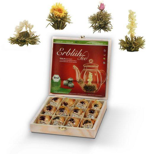 Creano Tee, 0% vol., Bio Teeblumen (Weißer Tee) in Holzkiste, 21er Box mit 4 Sorten