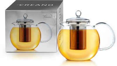 Creano Teekanne, 1,7 l, aus Borosilikatglas, inkl. Edelstahlfilter