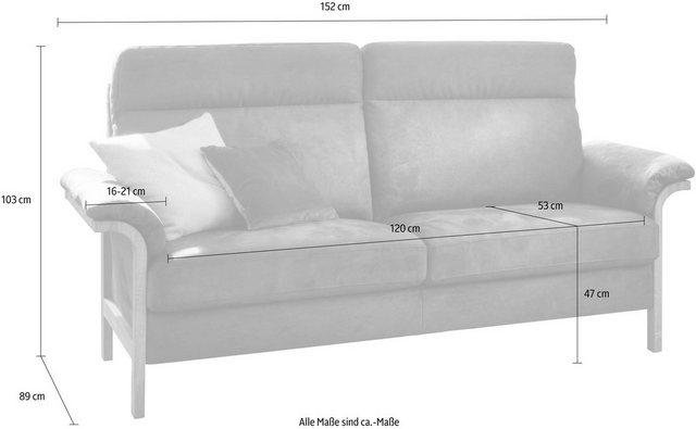 Sofas - Home affaire 2 Sitzer »Passau«, wahlweise mit Move Funktion Sitztiefenverstellung, Eiche bianco  - Onlineshop OTTO