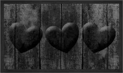 Fußmatte »3 Hearts«, HANSE Home, rechteckig, Höhe 5 mm, Schmutzfangmatte, In- und Outdoor geeignet, waschbar