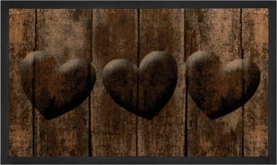 Fußmatte »3 Hearts«, HANSE Home, rechteckig, Höhe 5 mm, Fussabstreifer, Fussabtreter, Schmutzfangläufer, Schmutzfangmatte, Schmutzfangteppich, Schmutzmatte, Türmatte, Türvorleger, In- und Outdoor geeignet, waschbar