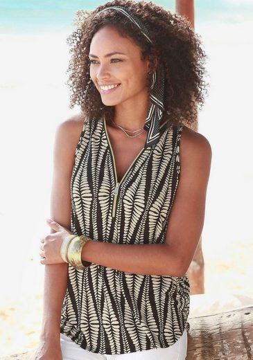 LASCANA Strandtop mit Zipperdetail