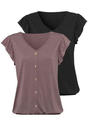 LASCANA T-Shirt (Packung, 2-tlg., 2er-Pack) Volant