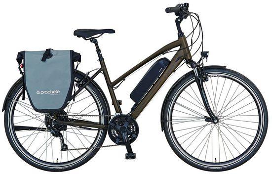 Prophete E-Bike »Entdecker e 9600 Damen«, 24 Gang, Kettenschaltung, Heckmotor 250 W, (Set, mit Seitentasche)