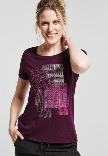 Cecil Print-Shirt mit Metallic-Effekt