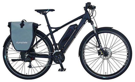 REX Bike E-Bike »Graveler e9600«, 27 Gang Shimano Deore Schaltwerk, Kettenschaltung, Heckmotor 250 W, (Set, 2 tlg., mit Seitentasche)