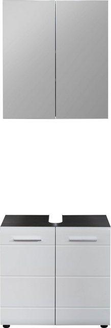 Badezimmer Sets - trendteam Badmöbel Set »Skin«, (Set, 2 St), Spiegelschrank und Waschbeckenunterschrank, mit Fronten in Hochglanz oder Holzoptik  - Onlineshop OTTO