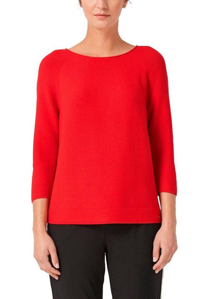 s.Oliver 3/4 Arm-Pullover mit lässigem Rundhalsausschnitt   Bekleidung > Pullover > 3/4 Arm-Pullover   Rot   s.Oliver