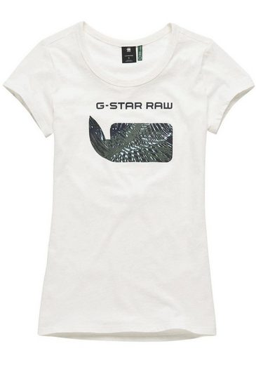 Mit Logo 18« Rundhalsshirt star »graphic G Raw Frontdruck qxBHgqO