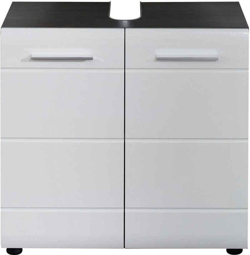 trendteam Waschbeckenunterschrank »Skin« Höhe 56 cm, Badezimmerschrank mit Fronten in Hochglanz- oder Holzoptik, mit Siphonausschnitt