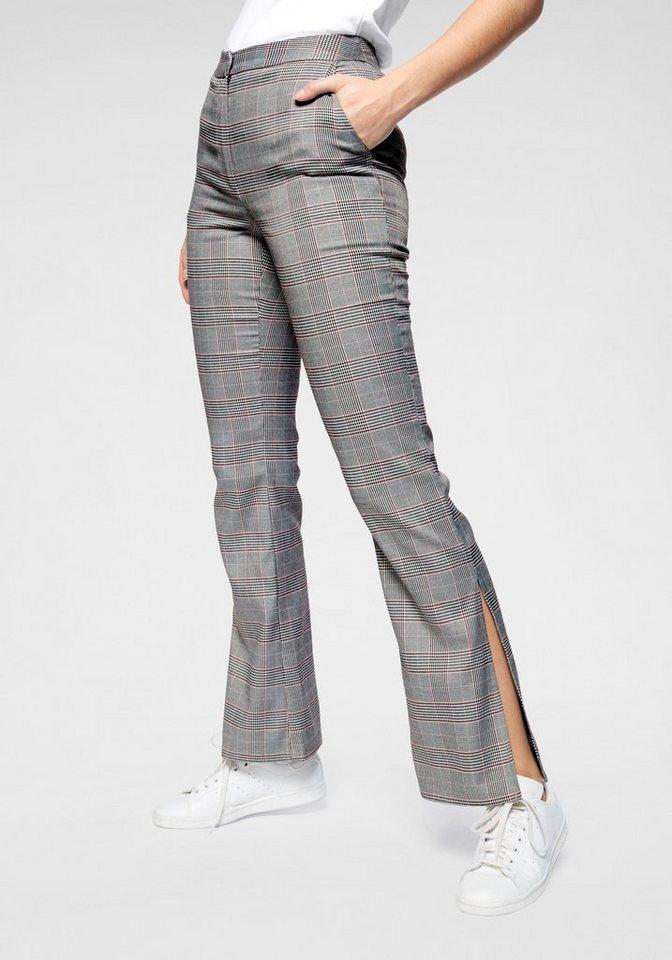 NA-KD Anzughose Schlaghose mit seitlichen Schlitz   Bekleidung > Hosen > Anzughosen   Grau   Glencheck   NA-KD