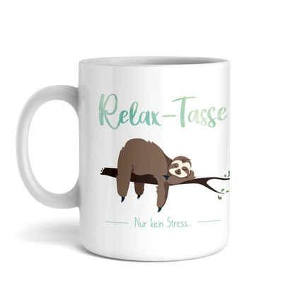 Kreative Feder Tasse, Keramik, Tasse mit Motiv, Keramiktasse, fasst ca. 300ml, Kaffe, Tee, Bürotasse, Büro, Faultier, Relax, Entspannung