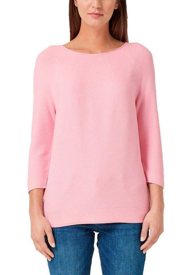s.Oliver RED LABEL 3/4 Arm-Pullover mit lässigem Rundhalsausschnitt   Bekleidung > Pullover > 3/4 Arm-Pullover   Rosa   s.Oliver RED LABEL