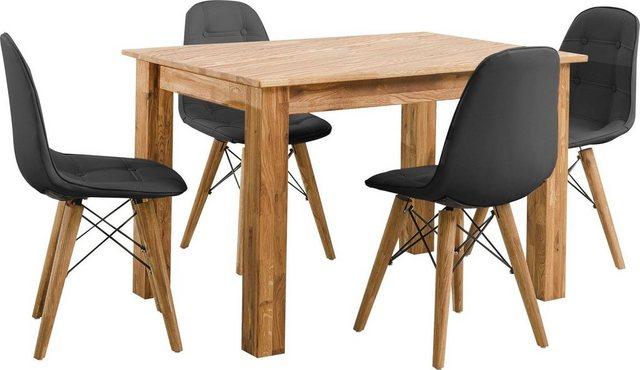 Essgruppen - Home affaire Essgruppe »Ben«, (Set, 5 tlg), bestehend aus 4 Scandi Stühlen mit Kunstleder Bezug und einem Massivholz Esstisch, Esstischgröße 120 cm  - Onlineshop OTTO