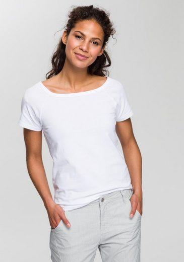 OPUS T-Shirt »Svela« mit extraweitem Rundhals für eine feminine Optik