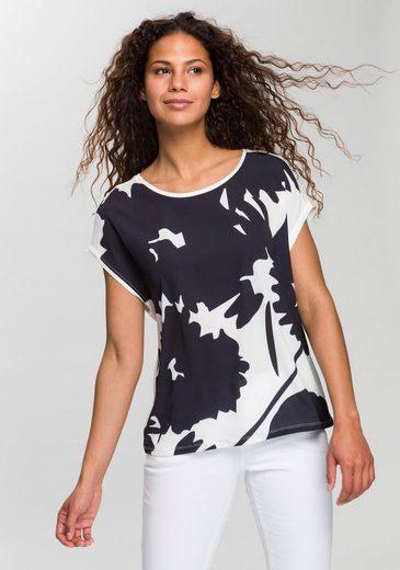 OPUS Blusenshirt »Saflori« mit dekorativem Frontprint auf leichtem Crêpematerial
