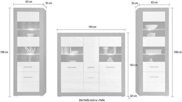 Wohnwände - INOSIGN Wohnwand »Etero«, (Set, 3 tlg), (3 tlg)  - Onlineshop OTTO