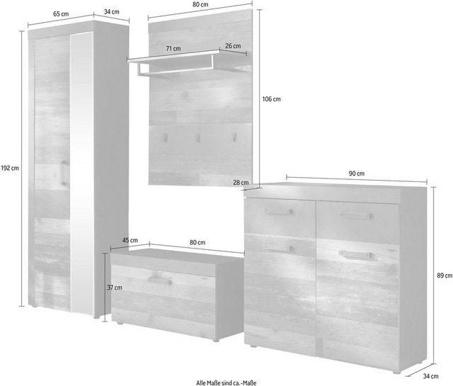 Garderoben Sets - trendteam Garderoben Set »Indy«, (Set, 4 tlg), bietet viel Stauraum  - Onlineshop OTTO
