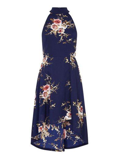 Mela London Chiffonkleid »HIGHNECK HIGH LOW DRESS« Falten