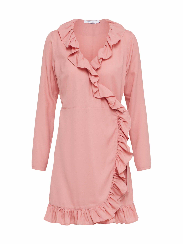 NA-KD Blusenkleid »Long Sleeve Wrap Frill Dress« Volant