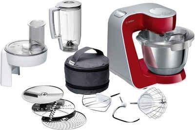 BOSCH Küchenmaschine MUM5 CreationLine MUM58720, 1000 W, 3,9 l Schüssel, vielseitig einsetzbar, Durchlaufschnitzler, 3 Reibescheiben, Mixer, deep red/silber