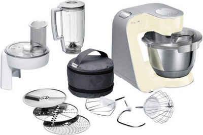 BOSCH Küchenmaschine MUM5 CreationLine MUM58920, 1000 W, 3,9 l Schüssel, vielseitig einsetzbar, Durchlaufschnitzler, 3 Reibescheiben Mixer, vanille/silber