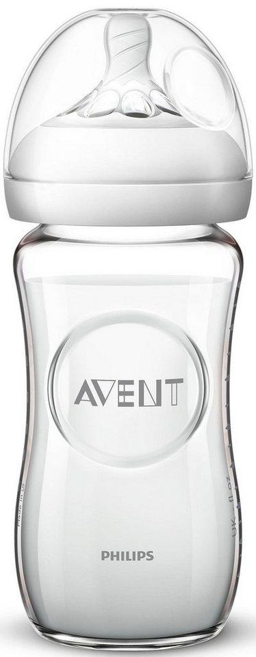 naturnahes Trinkverhalten aus Glas 1er Pack 240 ml Philips Avent Natural Flasche SCF053//17 Anti-Kolik-System