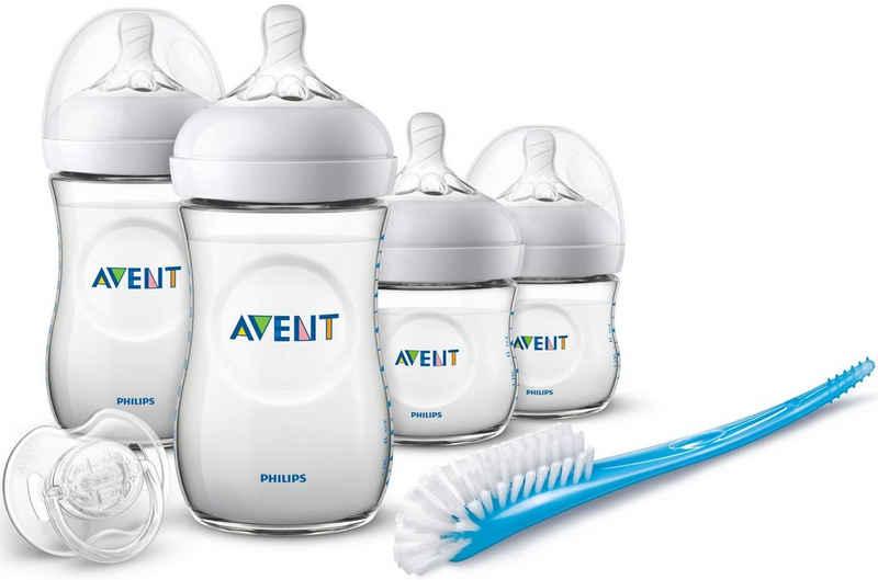 Philips AVENT Babyflasche »Starterset für Neugeborene SCD301/01«, 4 Flaschen, Schnuller und Bürste