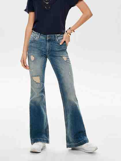 Only Jo Reg Destroyed Flared Jeans