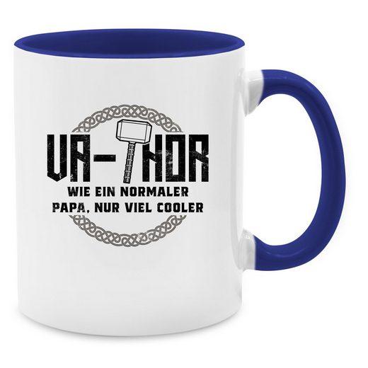 Shirtracer Tasse »Va-Thor wie ein normaler Papa nur viel cooler - schwarz - Tasse zweifarbig«, Keramik