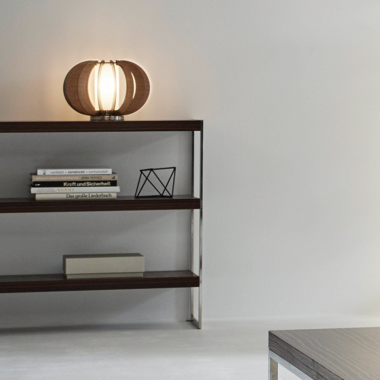 Licht-Trend Tischleuchte »Rift Ø 40cm mit Holzschirm braun«