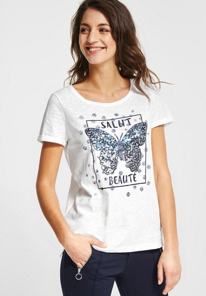 STREET ONE T-Shirt »Shirt mit Pailletten-Print« Pailletten und Glitzer-Effekt