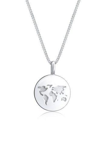 Elli Collierkettchen »Weltkugel Anhänger Plättchen Rund 925 Silber«