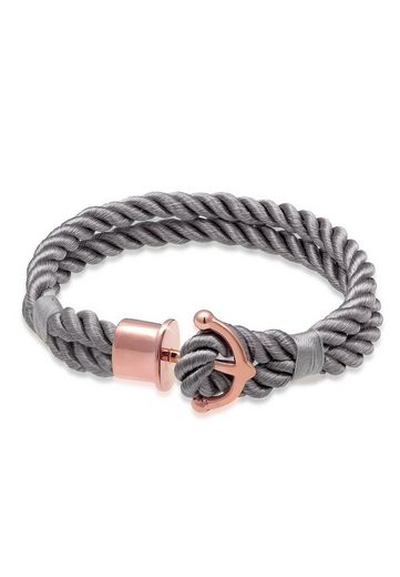 Nenalina Armband »Anker Maritim Nylon Bändchen 925er Silber rosé«