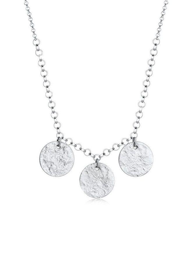 Elli Collierkettchen »Erbskette Kreis Geo Plättchen Minimal 925 Silber«