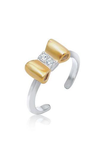 Elli Fingerring »Kinder Schleife Kristalle 925 Silber«