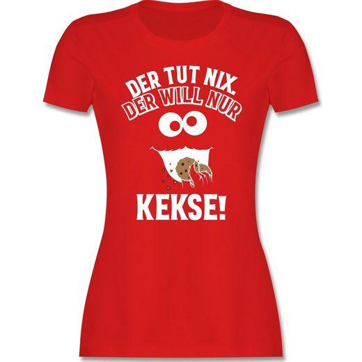 Shirtracer T-Shirt »Der tut nix. Der will nur Kekse! - Damen Premium T-Shirt«