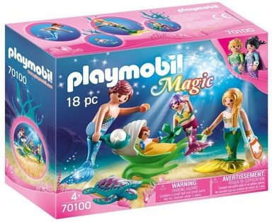 Playmobil® Konstruktions-Spielset »Familie mit Muschelkinderwagen (70100)«, Magic
