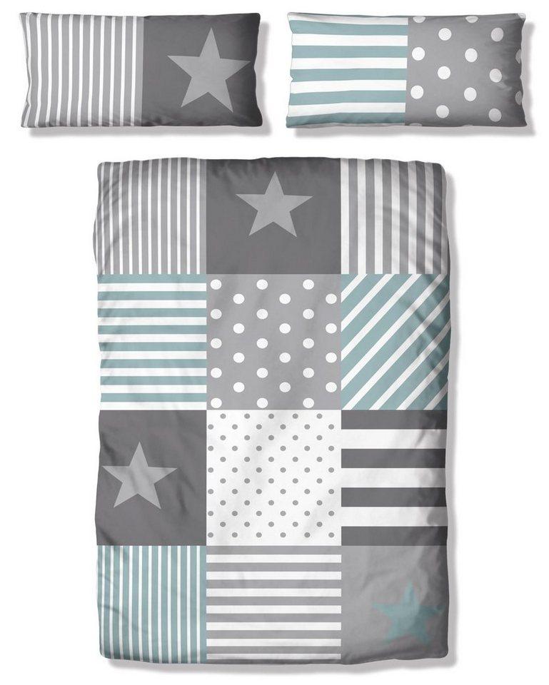 Kinderbettwäsche »Stern«, Lüttenhütt, mit tollem Sternendesign | Kinderzimmer > Textilien für Kinder > Kinderbettwäsche | Blau | Lüttenhütt